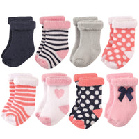 Hudson Baby Cotton Rich Newborn and Terry Socks, Heart