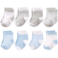Hudson Baby Cotton Rich Newborn and Terry Socks, Light Blue Gray