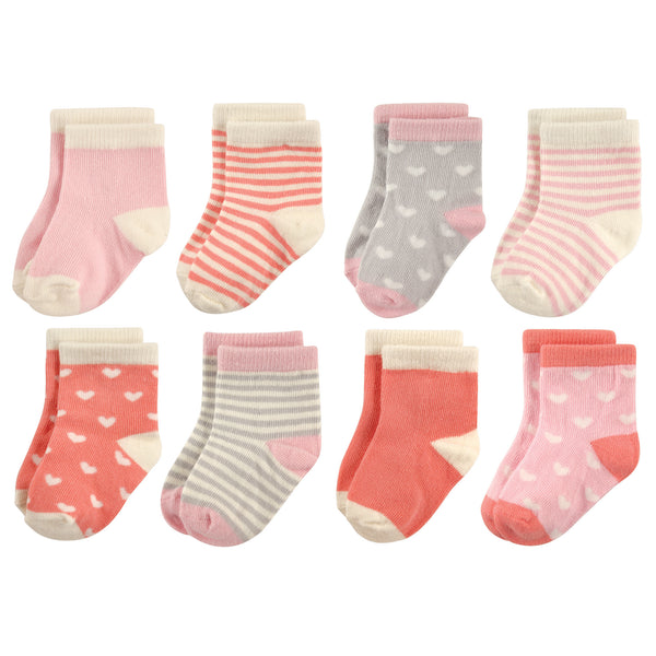 Hudson Baby Cotton Rich Newborn and Terry Socks, Hearts