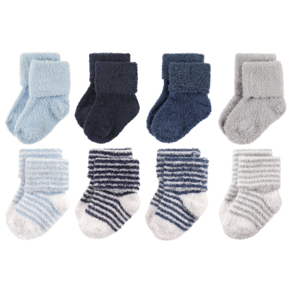 Hudson Baby Cotton Rich Newborn and Terry Socks, Boy Stripe