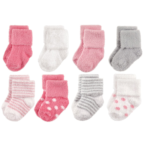 Hudson Baby Cotton Rich Newborn and Terry Socks, Dots Stripes