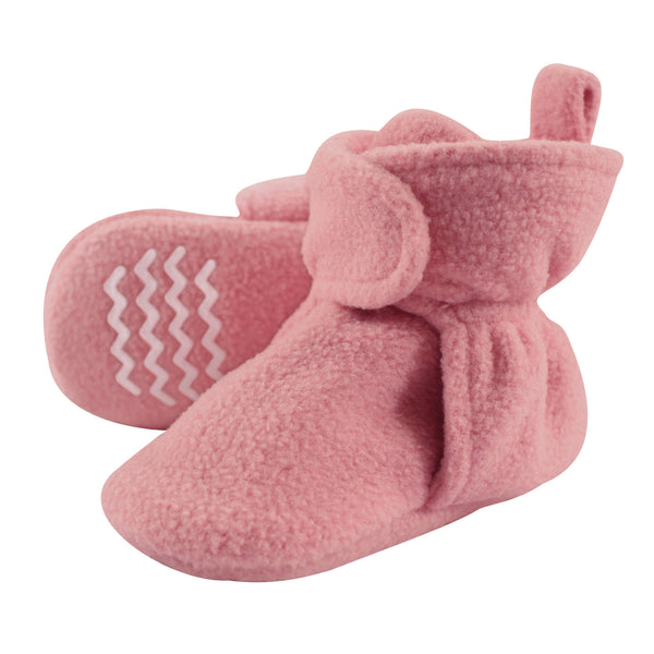 Hudson Baby Cozy Fleece Booties, Strawberry Pink