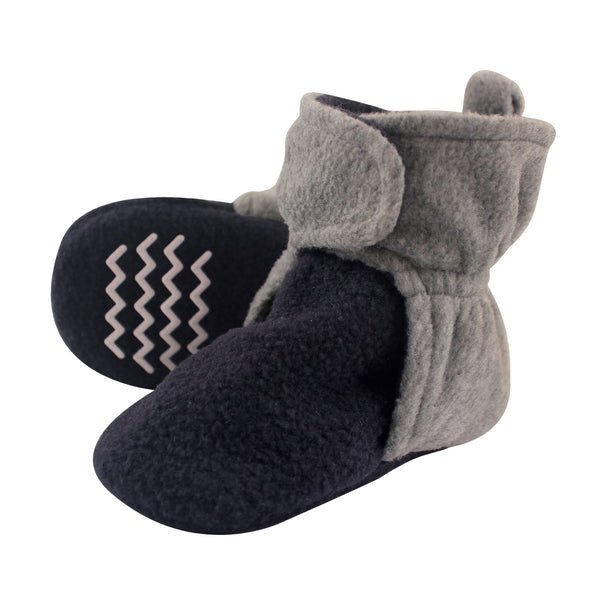 Hudson Baby Cozy Fleece Booties, Navy Heather Gray