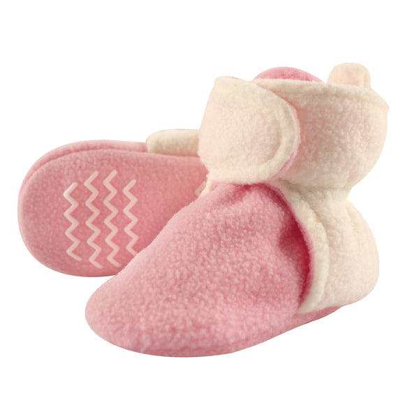 Hudson Baby Cozy Fleece Booties, Light Pink Cream