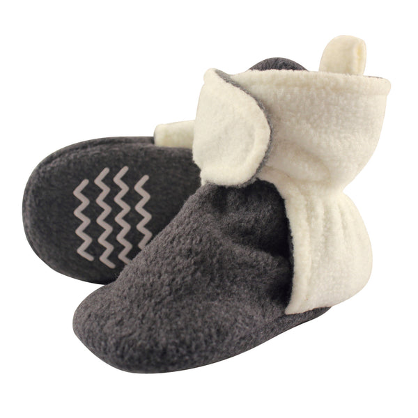 Hudson Baby Cozy Fleece Booties, Heather Charcoal Cream