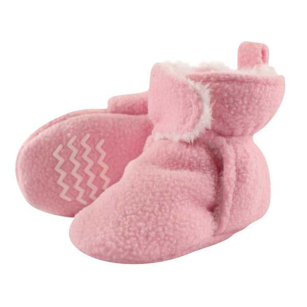 Hudson Baby Cozy Fleece and Sherpa Booties, Light Pink