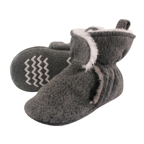 Hudson Baby Cozy Fleece and Sherpa Booties, Heather Charcoal