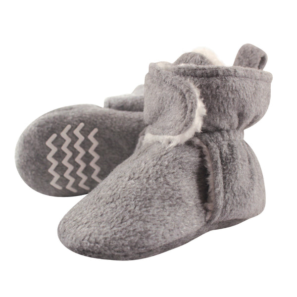 Hudson Baby Cozy Fleece and Sherpa Booties, Heather Gray