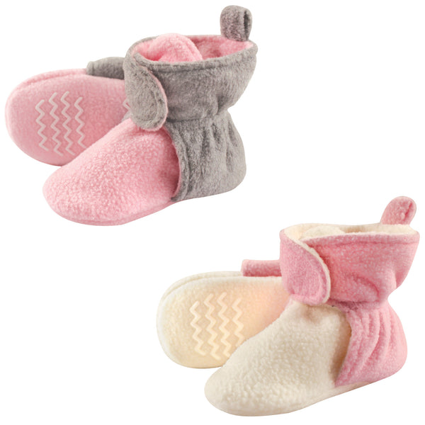 Hudson Baby Cozy Fleece Booties, Lt Pink Cream