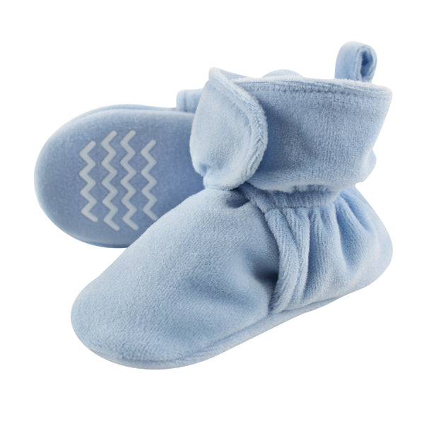 Hudson Baby Cozy Velour Booties, Light Blue
