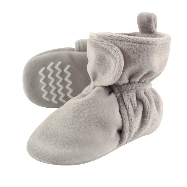 Hudson Baby Cozy Velour Booties, Heather Gray