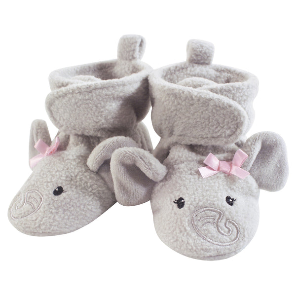 Hudson Baby Cozy Fleece Booties, Pretty Elephant