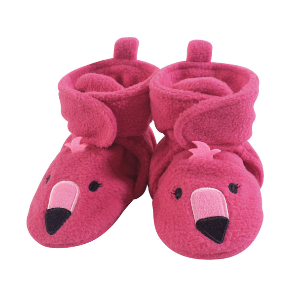 Hudson Baby Cozy Fleece Booties, Pink Flamingo