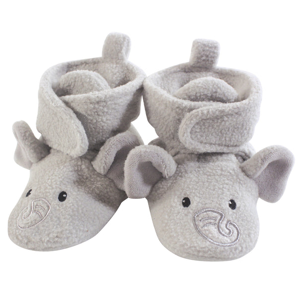 Hudson Baby Cozy Fleece Booties, Neutral Elephant