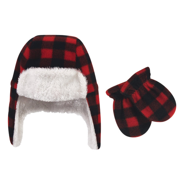 Hudson Baby Fleece Trapper Hat and Mitten Set, Black Red Plaid Baby
