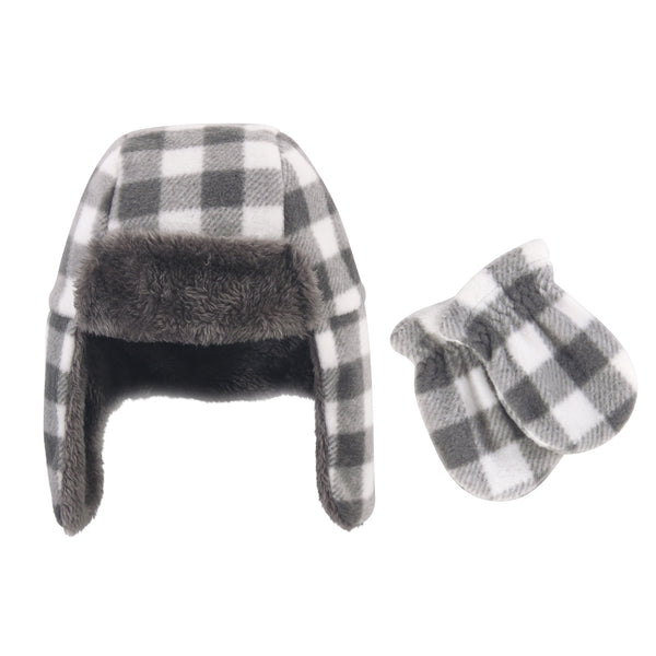 Hudson Baby Fleece Trapper Hat and Mitten Set, Charcoal White Plaid Toddler