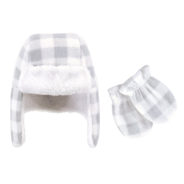 Hudson Baby Fleece Trapper Hat and Mitten Set, Gray White Plaid Baby