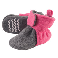 Hudson Baby Cozy Fleece Booties, Dk Pink Heather Charcoal