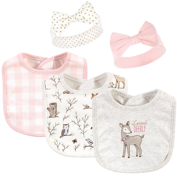 Hudson Baby Cotton Bib and Headband or Caps Set, Enchanted Forest