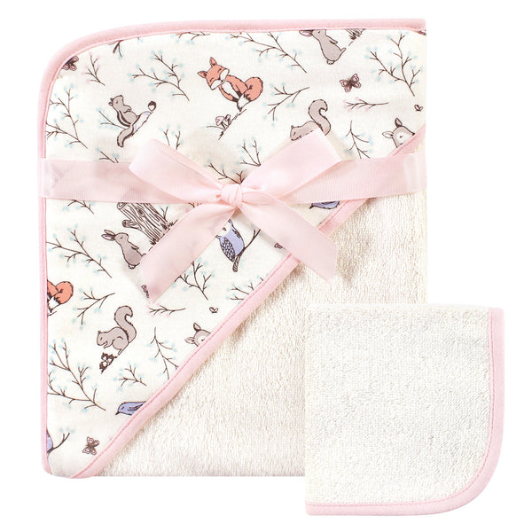 Hudson Baby Cotton Hooded Towel and Washcloth, Enchanted Forest