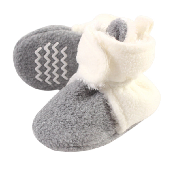 Hudson Baby Cozy Fleece and Sherpa Booties, Cream Heather Gray