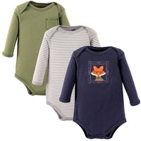 Hudson Baby Cotton Long-Sleeve Bodysuits, Fox 3-Pack