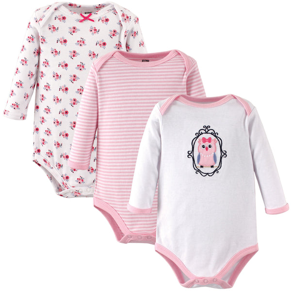 Hudson Baby Cotton Long-Sleeve Bodysuits, Owl 3-Pack