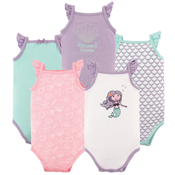 Hudson Baby Cotton Sleeveless Bodysuits, Mermaid