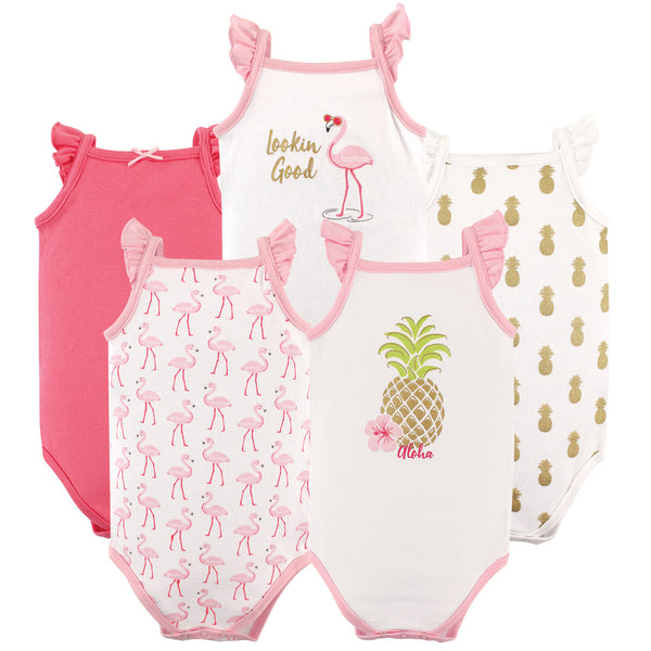 Hudson Baby Cotton Sleeveless Bodysuits, Pineapple