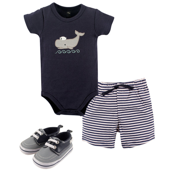Hudson Baby Cotton Bodysuit, Shorts and Shoe Set, Sailor Whale