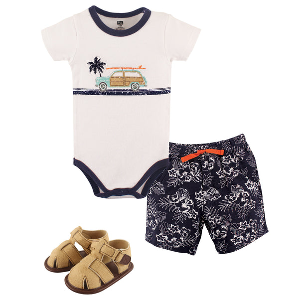 Hudson Baby Cotton Bodysuit, Shorts and Shoe Set, Surf Car