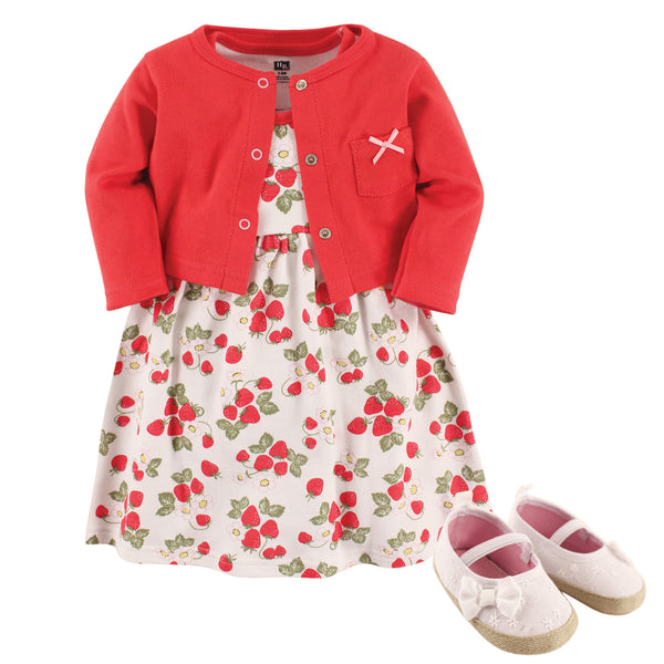 Hudson Baby Cotton Dress, Cardigan and Shoe Set, Strawberry