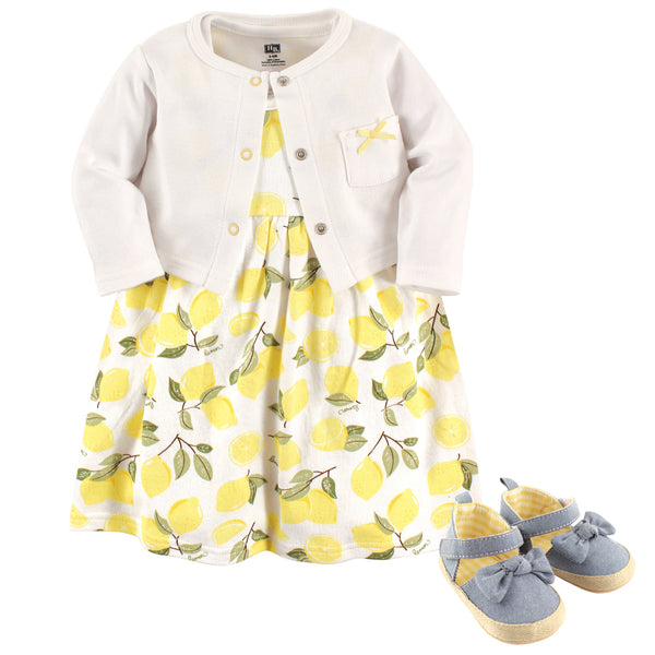 Hudson Baby Cotton Dress, Cardigan and Shoe Set, Lemon