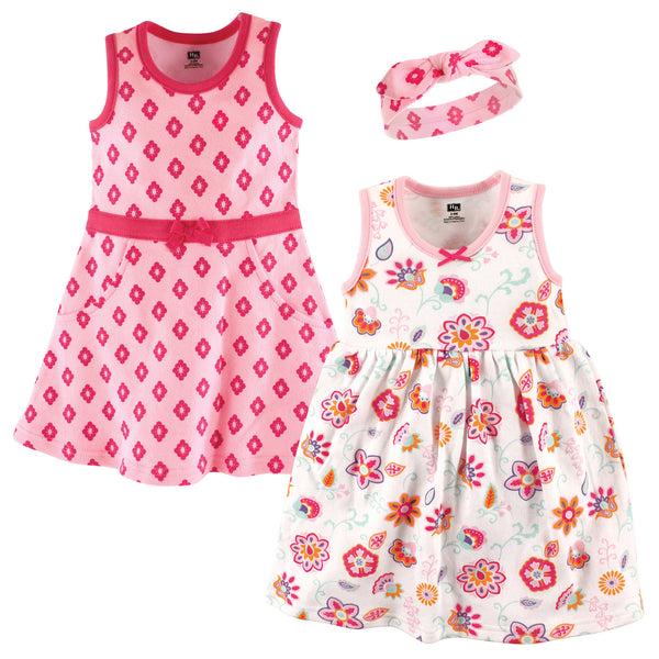 Hudson Baby Cotton Dress and Headband Set, Floral