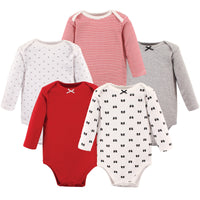 Hudson Baby Cotton Long-Sleeve Bodysuits, Bow