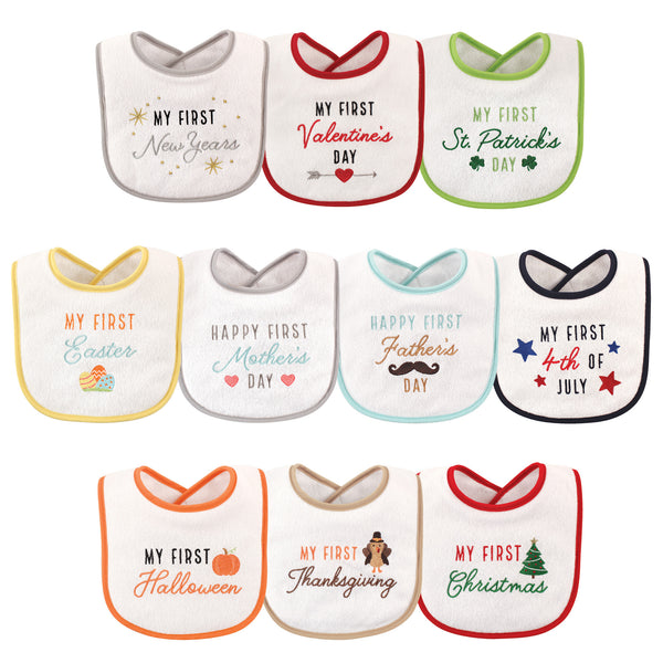 Hudson Baby Cotton Terry Drooler Bibs with Fiber Filling, Neutral Holiday