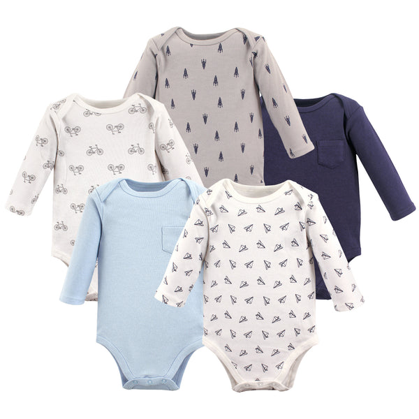 Hudson Baby Cotton Long-Sleeve Bodysuits, Basic Paper Airplane