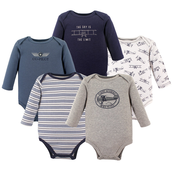 Hudson Baby Cotton Long-Sleeve Bodysuits, Aviation