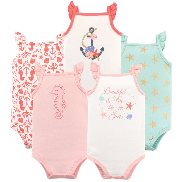 Hudson Baby Cotton Sleeveless Bodysuits, Beautiful Sea