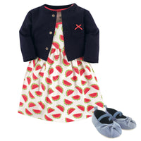 Hudson Baby Cotton Dress, Cardigan and Shoe Set, Watermelon
