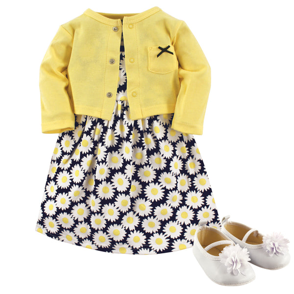 Hudson Baby Cotton Dress, Cardigan and Shoe Set, Daisy