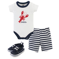 Hudson Baby Cotton Bodysuit, Shorts and Shoe Set, Lobster