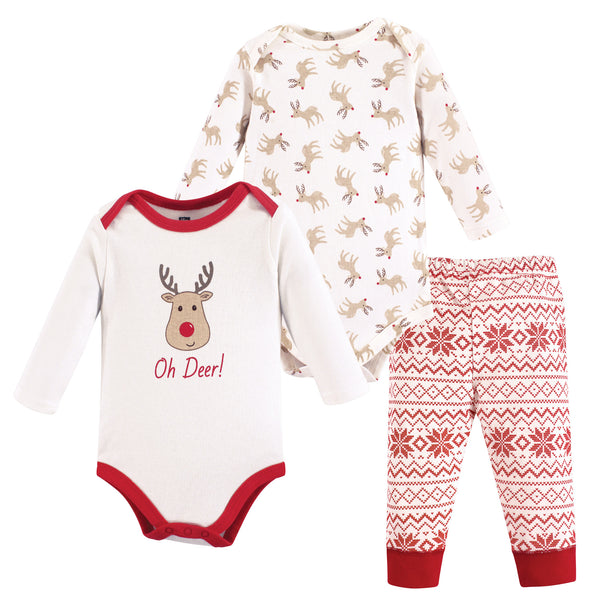 Hudson Baby Cotton Bodysuit and Pant Set, Reindeer