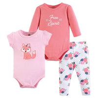 Hudson Baby Cotton Bodysuit and Pant Set, Floral Fox