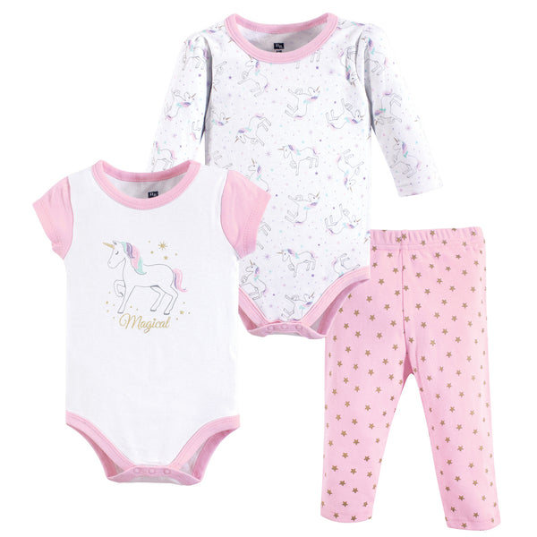 Hudson Baby Cotton Bodysuit and Pant Set, Magical Unicorn