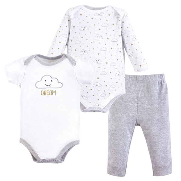 Hudson Baby Cotton Bodysuit and Pant Set, Gray Clouds
