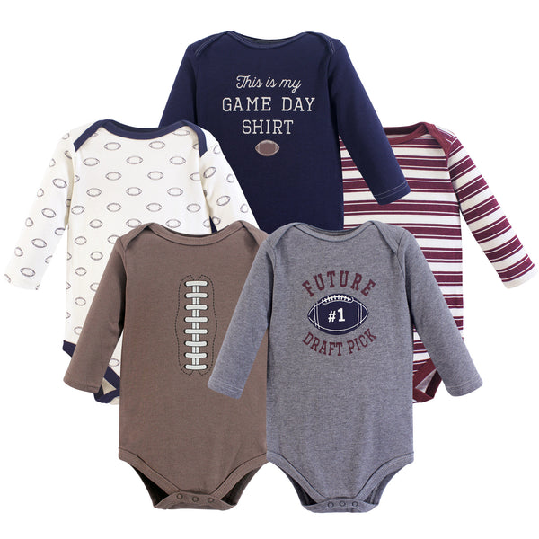 Hudson Baby Cotton Long-Sleeve Bodysuits, Football