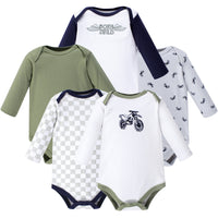 Hudson Baby Cotton Long-Sleeve Bodysuits, Dirt Bike