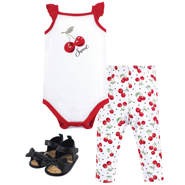Hudson Baby Cotton Bodysuit, Pant and Shoe Set, Cherries