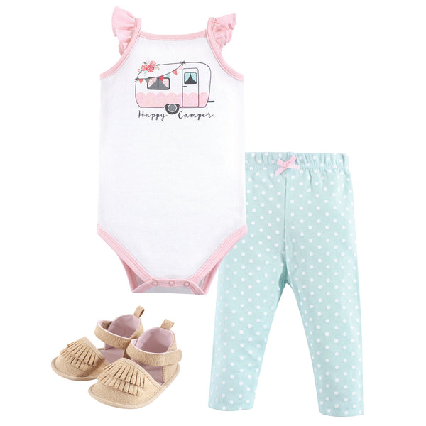 Hudson Baby Cotton Bodysuit, Pant and Shoe Set, Pink Happy Camper